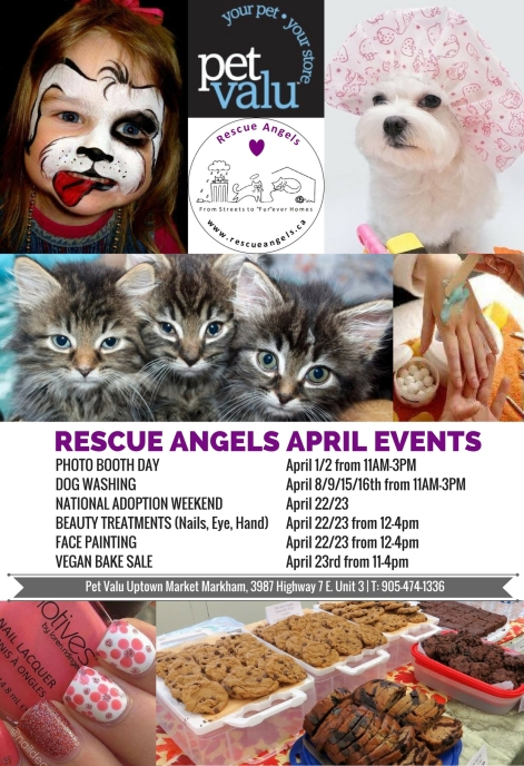 RESCUE ANGELS APRIL EVENTS